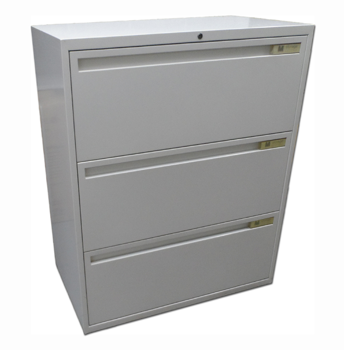 Used White 3 Drawer Side Filer Filing Cabinet